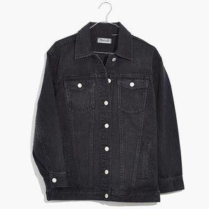 Madewell Oversized Black Jean Jacket in Lunar Wash